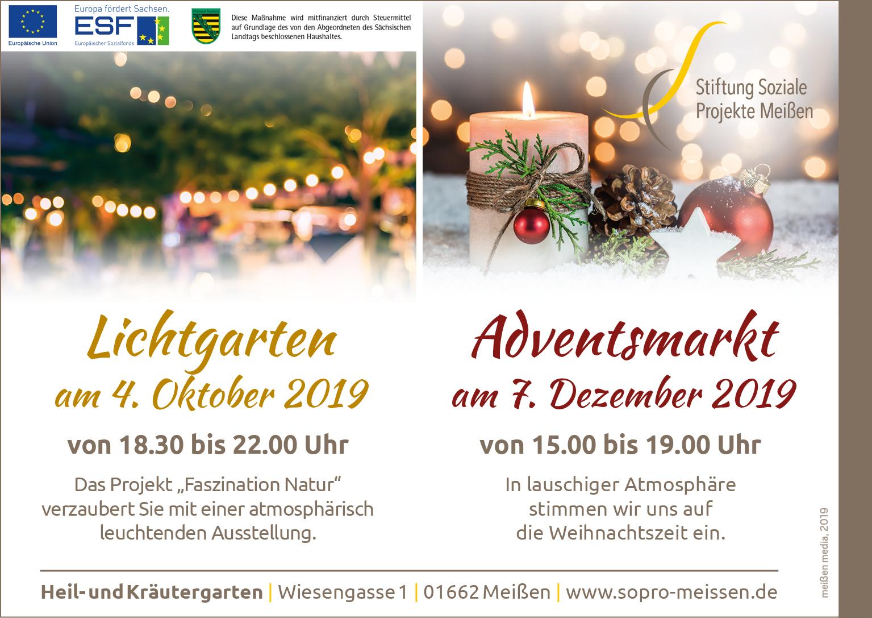 Anzeige Lichtgarten und Adventsmarkt