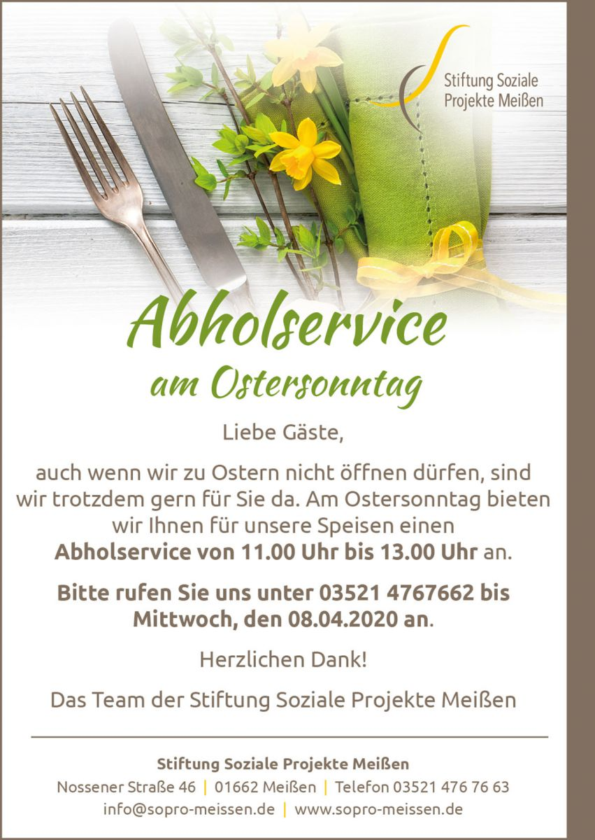 Abholservice am Ostersonntag